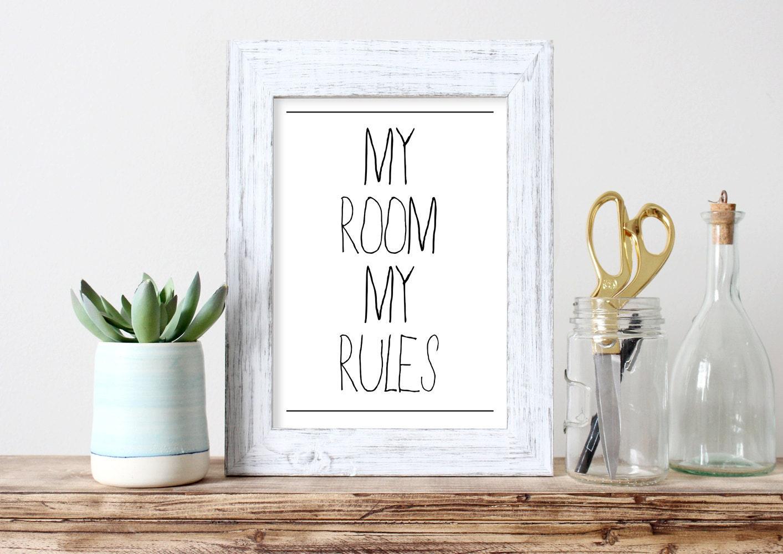 Mi cuarto mi reglas teen teen arte ni o regalo decoraci n para for Reglas de mi habitacion