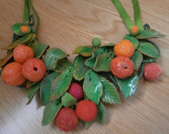 ARBUTUS! Necklace of autumn leaves, summer, strawberry trees and polymer resin, Orange