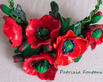 SOLD Summer poppies and leaves in polymer resin, flame red, black and purple