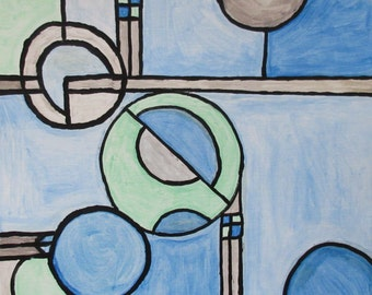 """Many Circles - A 12"""" by 12"""" contemporary painting by Rory Doyle an artist with autism - disability art"""