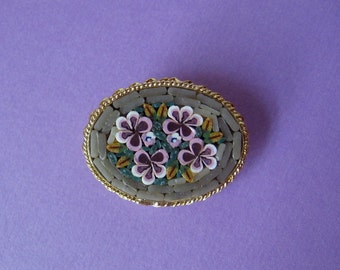 Venetian Mosaic Pin - Lavender and Sage Green - Italy