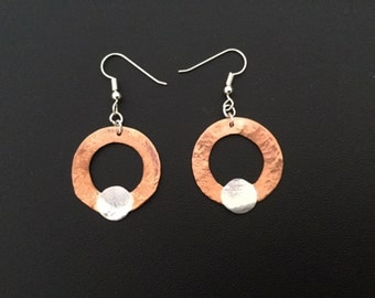 Copper and Sterling Hoops