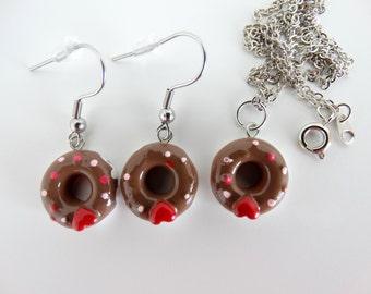 Donuts Jewelry Set, Mini Donuts Earrings, Mini Donut Necklace, Resin Donuts Set, Mini Food Jewelry, Girls Donuts Jewelry, Resin Donut Charm