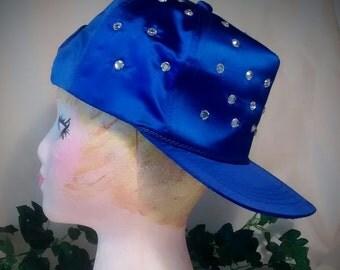 Royal Blue Satin Vintage Baseball Hat with Crystals