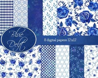 Blue Delft digital papers / blue Delft scrapbooking papers / watercolor scrapbooking papers / floral digital papers / navy blue papers