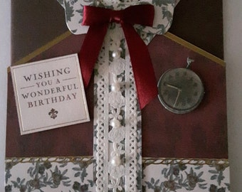 Handmade Beautiful Vintage Greetings Cards - Downton Abbey Style