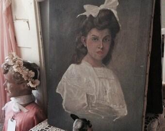 Oil portrait, oil portrait, portrait of a l ' huile, girl with bow