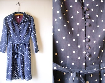 70s Blue Dress w/ White Polka Dots, Belted, Sheer Sleeves, Burgundy Lining. Collared, Button-up.