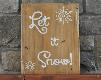 Christmas Wood Sign Distressed - Let it Snow