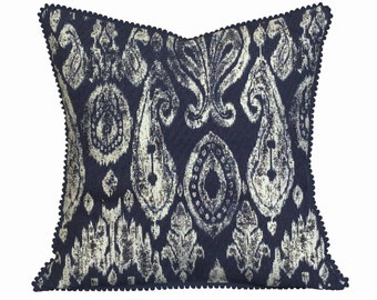 Ikat Print Cushion, Navy and Cream Pillow Covers, Unique Cushions for your Home Decor