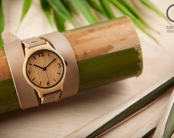 Natural Beige Bamboo Watch