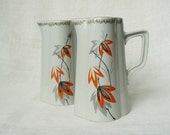Set of 2_ Vintage Porcelain Pitchers, Water/ Juice Jug, Orange Gray & Black Floral Decor, Vintage Table Serving, Latvia, 1960s