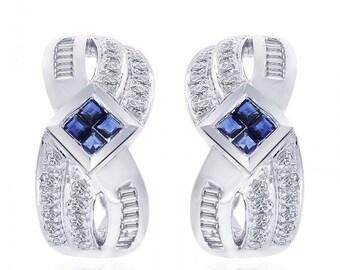 0.90 Carat Diamond and Sapphire Cluster J-Hoop Earrings 14K White Gold