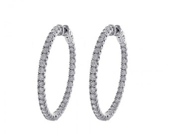 3.00 Carat Micro Pave Hoop Earrings 14K White Gold