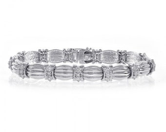 2.75 Carat Round Brilliant Cut Diamond Fancy Bracelet 14K White Gold