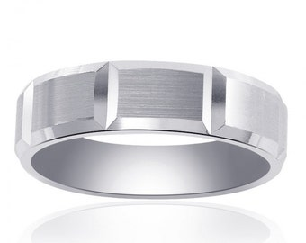 6.65mm 14K White Gold Comfort Fit Horizontal Grooves Band