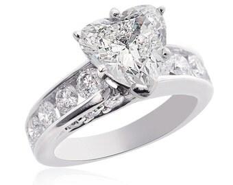 3.47 Carat J-SI2 Natural Heart Shaped Diamond Engagement Ring 14K White Gold
