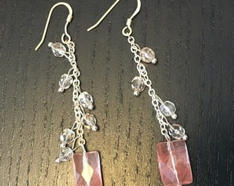 Light Pink Squared Dangle Bead Earrings with Shepard's Hook Posts