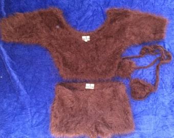 3-Piece Angora Hot Pants Outfit
