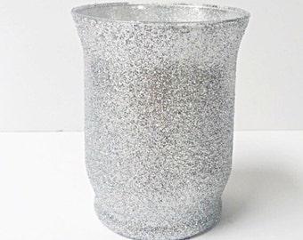 """4"""" Glass Glitter Vase, Votive Candle Holder, Candle Holder, Flower Vase, Wedding Centerpiece. (Select Glitter Color)"""