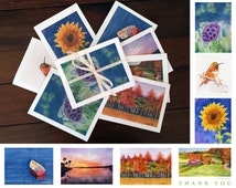 Assorted Note Cards ~ 7 Note Cards with Envelopes ~ Watercolor Art by Connie Roy
