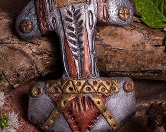 Norse, Steampunk inspired Thors hammer in polymer clay