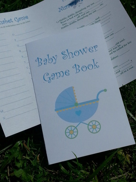 Baby stroller shower game booklet personalized set of 25 for Baby shower game booklet template