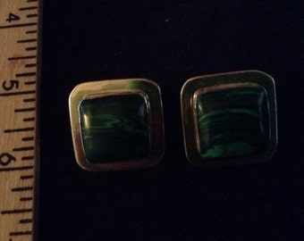 Malachite and Sterling Silver square clip earrings