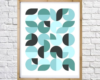 Poster of turquoise circles,  digital print, instant download, minimal art, printable art, wall decor, digital download