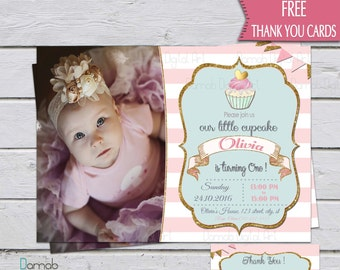 Cupcake Birthday Invitation, Little Cupcake Invitation, Cupcake party invitation, Photo Birthday Invitation, Pink gold cupcake invitation