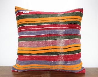 Handwoven Kilim Pillow Multicolor Kilim Large Size Kilim Pillow 24x24 Oversized Cushion Cover Pillow Cover Bohomien Turkish Kilim Pillow