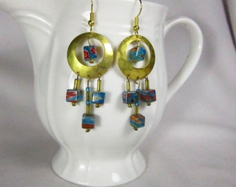 Brass and Turquoise Colored Chandelier Earrings
