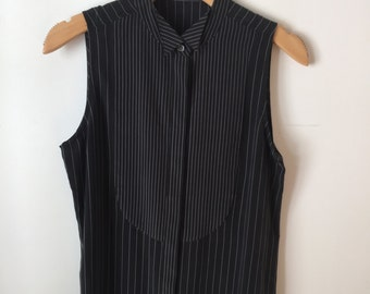 Equipment Femme Charcoal Pinstripe Sleeveless Blouse