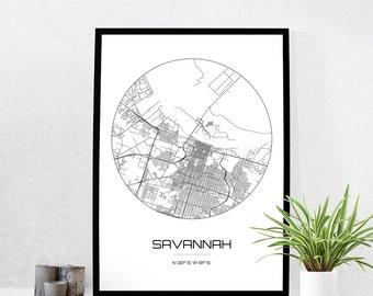 Savannah Map Print - City Map Art of Savannah Georgia Poster - Coordinates Wall Art Gift - Travel Map - Office Home Decor