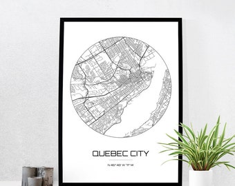 Quebec City Map Print - City Map Art of Quebec City Canada Poster - Coordinates Wall Art Gift - Travel Map - Office Home Decor