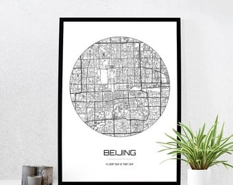 Beijing Map Print - City Map Art of Beijing China Poster - Coordinates Wall Art Gift - Travel Map - Office Home Decor