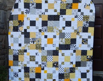 Scrappy Black and Yellow Modern Lap Quilt