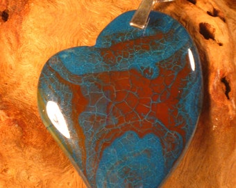 Blue and Terracotta Agate Asymmetrical Heart Necklace