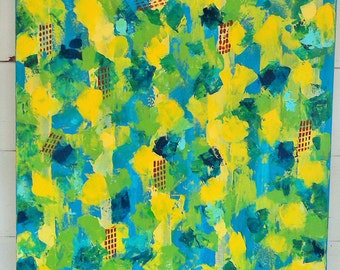 "FREE SHIPPING on Original Acrylic Abstract Knife Painting in Bright Colors of Blues, Yellows, and Greens titled ""Blue Skies and Lemonade ""."