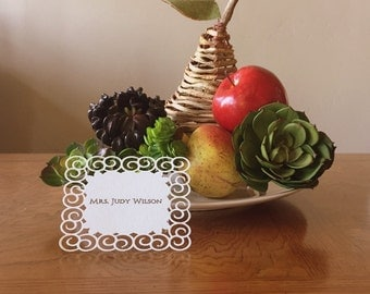 Stylish Placecard with Elegant Swirls