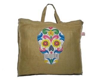 Embroidered Burlap Tote Bag-Sugar Skull- Burlap Market Bag - Jute Tote Bag- Grocery bag- OficinaDartesa*Craftswoman Shop