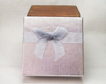 """Silky Lined Gift Box With Bow Attached for Your Jewelry Creations in Shiny Silver -  Perfect Size for a Necklace or Bracelet (3 1/2""""x3 1/2"""")"""