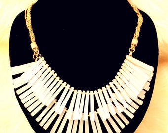 Two-Layer Quartz Fringe Bib Necklace