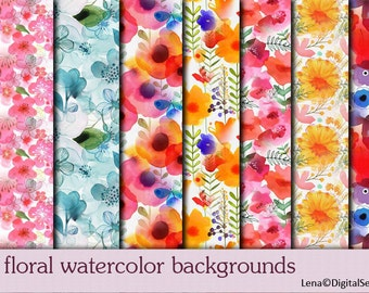 35 floral watercolor backgrounds INSTANT DOWNLOAD decoupage paper flowers printable 12x12 Scrapbook
