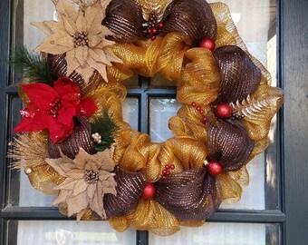 Gold & Brown Christmas Wreath