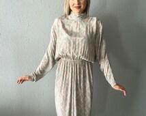 Vintage Bohemian Paisley Mock Turtleneck Dress