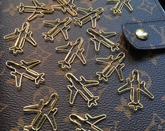 Gold Airplane Paperclips