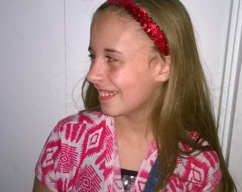 Baby Girl Sequin Headband Red