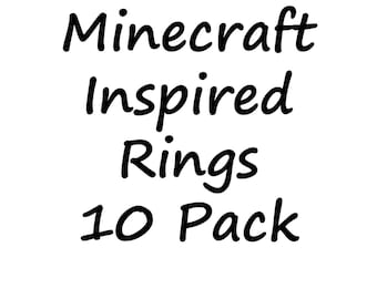 10 Pack of Minecraft inspired fimo rings.