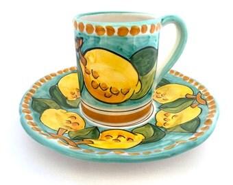 Coffee mug and plate set Positano design : Lovely Sorrento